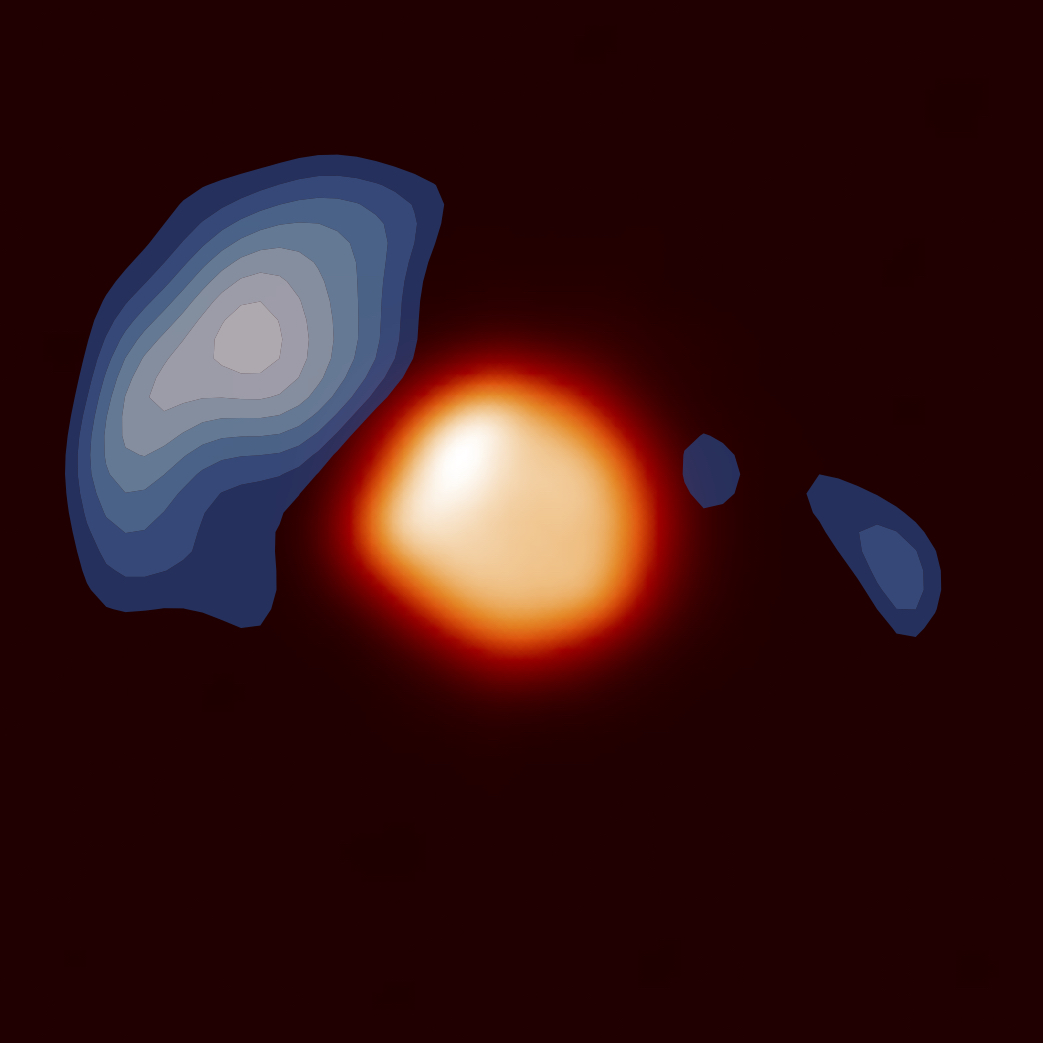 The environment of the red supergiant Betelgeuse, with dust shown in blue and the star itself shown in orange. Credit: Pierre Kervella.