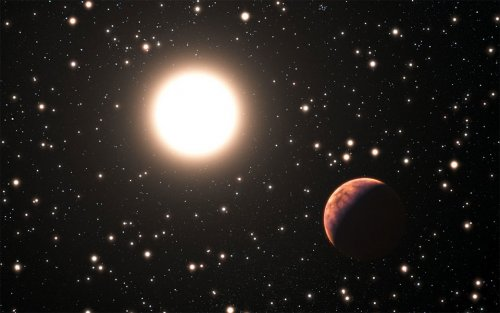 Artist's vuew of an exoplanet orbiting a Sun-like star, in the cluster Messier 67.