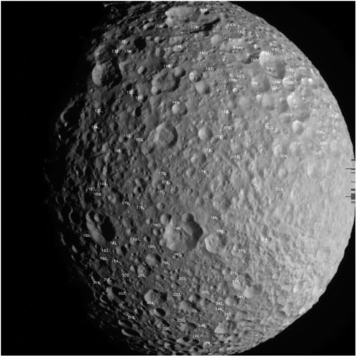 The network of control points on the surface of Mimas, from which it was possible to determine the rotational motion of the body.